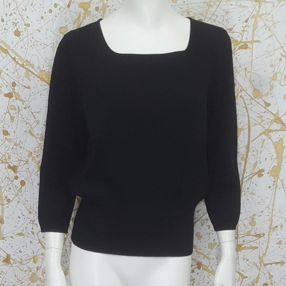 e0d68a93b3164 Talbots Tops - Talbots 3 4 sleeves square neck black top size L